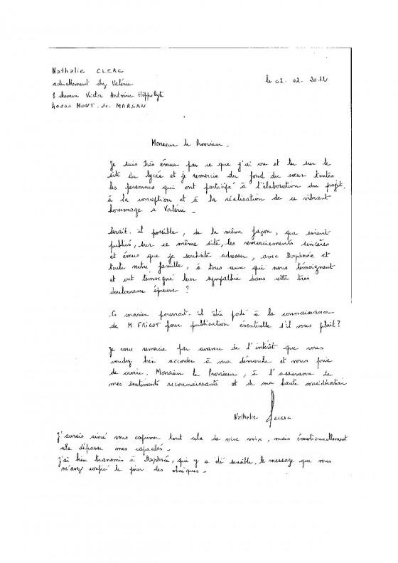 Célèbre Remerciements de la maman de Valérie Clerc | Lycée Victor Duruy YO42